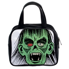 Zombie Face Vector Clipart Classic Handbags (2 Sides)