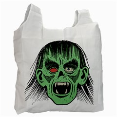 Zombie Face Vector Clipart Recycle Bag (One Side)