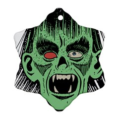 Zombie Face Vector Clipart Snowflake Ornament (Two Sides)