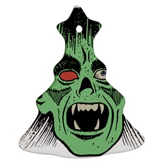 Zombie Face Vector Clipart Christmas Tree Ornament (Two Sides)