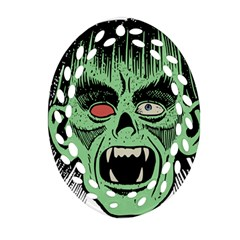 Zombie Face Vector Clipart Ornament (Oval Filigree)
