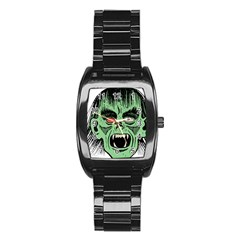 Zombie Face Vector Clipart Stainless Steel Barrel Watch