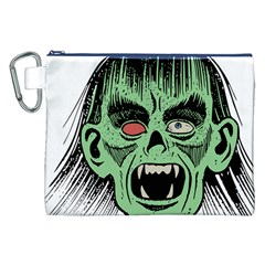 Zombie Face Vector Clipart Canvas Cosmetic Bag (XXL)