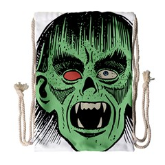 Zombie Face Vector Clipart Drawstring Bag (Large)