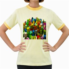 Cubes Assorted Random Toys Women s Fitted Ringer T-Shirts