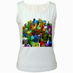 Cubes Assorted Random Toys Women s White Tank Top