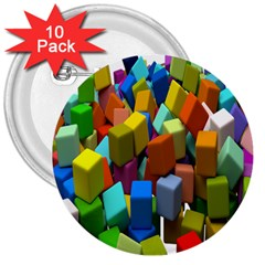 Cubes Assorted Random Toys 3  Buttons (10 pack)
