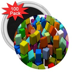 Cubes Assorted Random Toys 3  Magnets (100 pack)