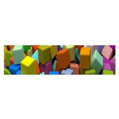 Cubes Assorted Random Toys Satin Scarf (Oblong)