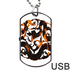 Ornament Dragons Chinese Art Dog Tag USB Flash (One Side)