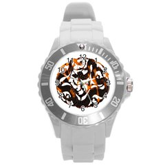 Ornament Dragons Chinese Art Round Plastic Sport Watch (L)