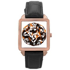 Ornament Dragons Chinese Art Rose Gold Leather Watch