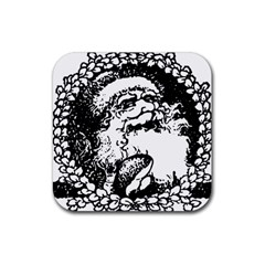 Santa Claus Christmas Holly Rubber Square Coaster (4 pack)