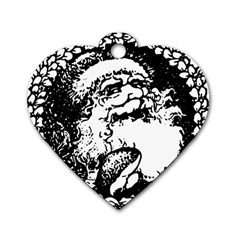 Santa Claus Christmas Holly Dog Tag Heart (Two Sides)