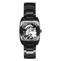 Santa Claus Christmas Holly Stainless Steel Barrel Watch