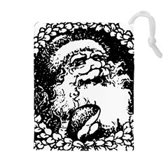 Santa Claus Christmas Holly Drawstring Pouches (extra Large)