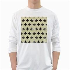 RYL1 BK-MRBL BG-LIN White Long Sleeve T-Shirts