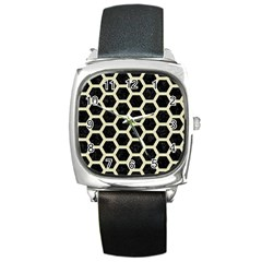HXG2 BK-MRBL BG-LIN Square Metal Watch