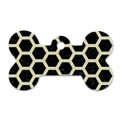 HXG2 BK-MRBL BG-LIN Dog Tag Bone (One Side)
