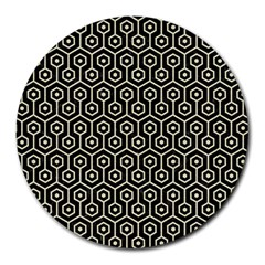 Hexagon1 Black Marble & Beige Linen Round Mousepad
