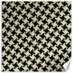 Houndstooth2 Black Marble & Beige Linen Canvas 20  X 20