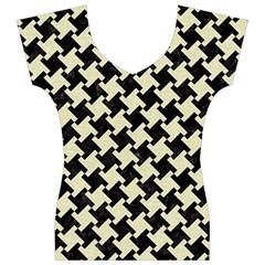 HTH2 BK-MRBL BG-LIN Women s V-Neck Cap Sleeve Top