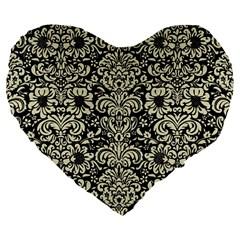 DMS2 BK-MRBL BG-LIN Large 19  Premium Heart Shape Cushions