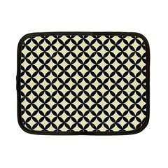 Circles3 Black Marble & Beige Linen (r) Netbook Case (small)