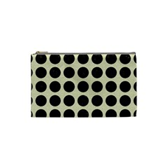 Circles1 Black Marble & Beige Linen (r) Cosmetic Bag (small)