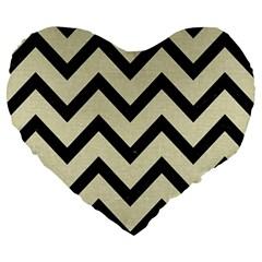 CHV9 BK-MRBL BG-LIN (R) Large 19  Premium Flano Heart Shape Cushions