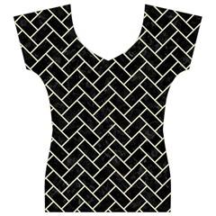BRK2 BK-MRBL BG-LIN Women s V-Neck Cap Sleeve Top