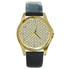 BRK1 BK-MRBL BG-LIN (R) Round Gold Metal Watch