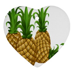 Pineapples Tropical Fruits Foods Ornament (Heart)