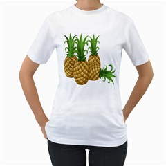 Pineapples Tropical Fruits Foods Women s T-Shirt (White) (Two Sided)