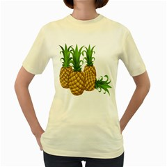 Pineapples Tropical Fruits Foods Women s Yellow T-Shirt