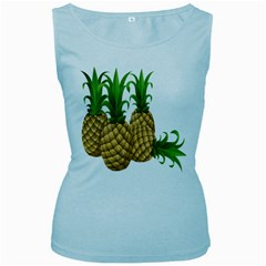 Pineapples Tropical Fruits Foods Women s Baby Blue Tank Top