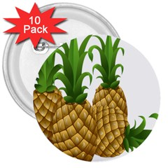 Pineapples Tropical Fruits Foods 3  Buttons (10 pack)