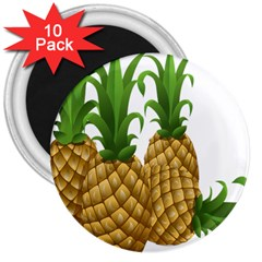 Pineapples Tropical Fruits Foods 3  Magnets (10 pack)
