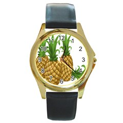 Pineapples Tropical Fruits Foods Round Gold Metal Watch