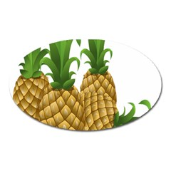 Pineapples Tropical Fruits Foods Oval Magnet