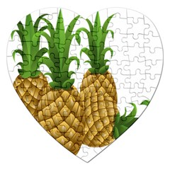 Pineapples Tropical Fruits Foods Jigsaw Puzzle (Heart)