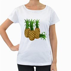 Pineapples Tropical Fruits Foods Women s Loose-Fit T-Shirt (White)