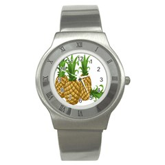 Pineapples Tropical Fruits Foods Stainless Steel Watch