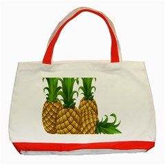Pineapples Tropical Fruits Foods Classic Tote Bag (Red)