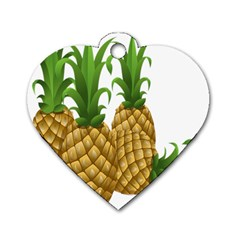 Pineapples Tropical Fruits Foods Dog Tag Heart (One Side)