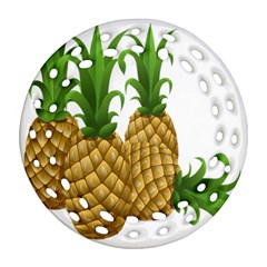 Pineapples Tropical Fruits Foods Round Filigree Ornament (Two Sides)