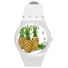 Pineapples Tropical Fruits Foods Round Plastic Sport Watch (m)