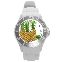 Pineapples Tropical Fruits Foods Round Plastic Sport Watch (L)