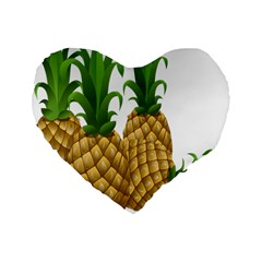 Pineapples Tropical Fruits Foods Standard 16  Premium Heart Shape Cushions