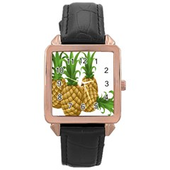 Pineapples Tropical Fruits Foods Rose Gold Leather Watch